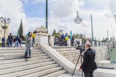 News reporter at syntagma square Royalty Free Stock Photos