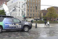 News reporter truck by the pier Royalty Free Stock Images