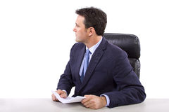 News Reporter on White Background Stock Image
