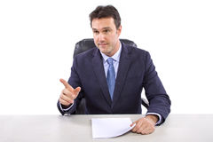 News Reporter on White Background Stock Photos