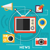 News and reports concept. Flat style vector illustration online web banner Royalty Free Stock Photography