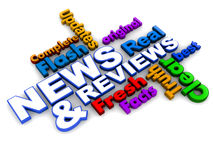 News and reviews. Text on white background with associated positive words stock illustration