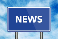 News. Road sign with text NEWS on blue sky background Stock Image