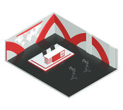 News Room Isometric Interior. Video tv broadcast studio isometric interior composition with live news room environment newscasters table and cameras vector Stock Photography