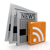 News and rss. In the design of information related to communication Stock Photography