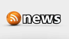 News RSS Feed Icon. News sign and RSS feed symbol web and online information concept 3D illustration Royalty Free Stock Photo