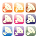 NEWS RSS FEEDS - ICON. Internet RSS news feeds icons in different colors and a glassy web 2.0, modern design. The N letter, in the dot, stands for news Royalty Free Stock Images