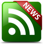 News RSS icon green square button Stock Images