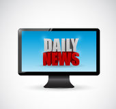 Daily news on a screen monitor. illustration Stock Image