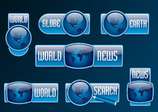 News and search vector blue glossy icon set Stock Photo