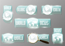 News and search vector glass icon set on transparent background (transparency in additional format only). World globe and map symbol. Round and square sign royalty free illustration