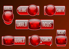 News and search vector red glossy icon set Royalty Free Stock Photography