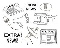 News set icon. Press conference journalistic investigation and daily news symbols flat  vector illustration Stock Image