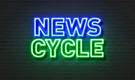News show neon sign on brick wall background. Stock Photo