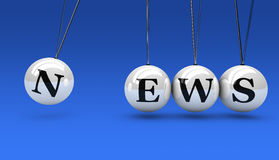 News Sign Concept. News sign and word on hanged spheres concept 3D illustration on blue background Stock Photo