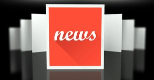 News sign on exhibition gallery stand walls. With reflection Stock Image