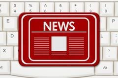 News sign on a keyboard. News sign, A red sign with text News and newspaper icon on a keyboard Royalty Free Stock Photography
