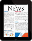 News site template on the new iPad Tablet. Isolated on white iPad Air digital tablet displaying a news site. The text is lorem ipsum language. Everything in this Royalty Free Stock Photos