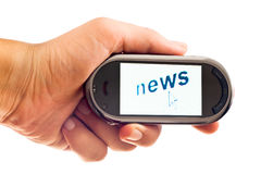 News on smartphone Stock Image