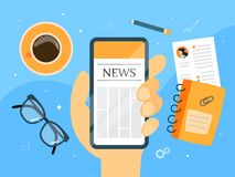 News on smartphone. Man reading news on smartphone screen with coffee royalty free illustration