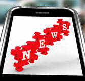 News On Smartphone Showing Online Journalism Royalty Free Stock Photos