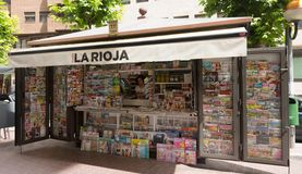 News stands in Logrono, Spain. LOGRONO, SPAIN - JUNE 28, 2014:  News stands in Logrono, Spain Royalty Free Stock Image
