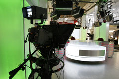 News studio. Television studio with news desk, camera prompter and professional lightning Stock Photo