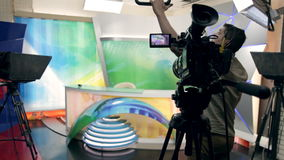 A news studio before air stock video