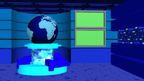 News studio tv blue cyan. News studio tv 4k with earth globe, transparent cylinder, rotating tubes and green screens blue cyan stock video