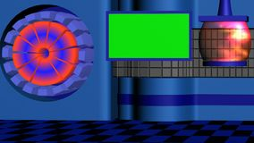 News studio tv with transparent lamp and rotating cylinder blue red. News studio tv with transparent lamp, green screen and rotating cylinder blue red stock video footage