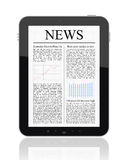News On Tablet PC. Business news on Tablet PC. Isolated on white Royalty Free Stock Photo