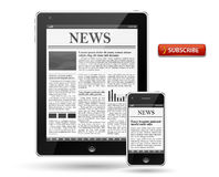 News on tablet pc or mobile phone Royalty Free Stock Photos