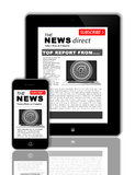 News on tablet and phone. An image showing how the news can be shown on a PC tablet and mobile phone at the same time. The news is the same on both items at the