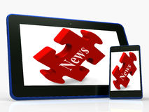 News Tablet Shows Read Or Watch Latest Updates On Web Royalty Free Stock Photography