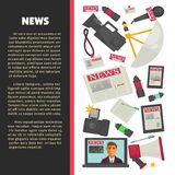Television news poster for journalism profession of vector journalist equipment. News and television journalism flat poster of journalist working tools for news Stock Images