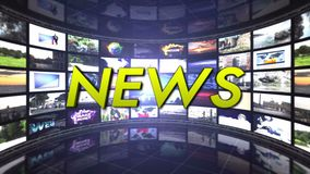 NEWS Text Animation and Monitors Room, Rendering, Background, Loop, 4k stock footage
