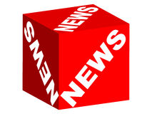 NEWS text on box. NEWS text on red box isolated on white background Vector Illustration