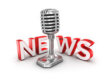 News text and microphone. 3d Concept Stock Photo