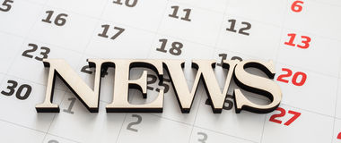 News text over calendar background Royalty Free Stock Images