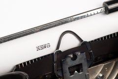 News text on retro typewriter Royalty Free Stock Photo