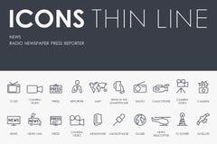 News Thin Line Icons stock illustration