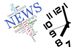 News and time. On white background Stock Photography