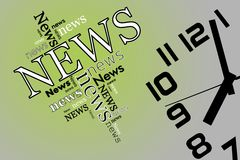News and time on soft green and grey background.  Stock Photography