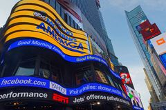News on Times Square in Manhattan. NEW YORK CITY, USA, September 11, 2017 :  Times Square is a major commercial intersection, tourist destination, entertainment Stock Photography