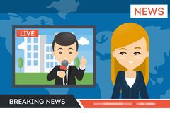 News on TV. Royalty Free Stock Photography