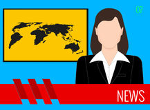 News TV screen. A leading television news TV screen female Royalty Free Stock Photo