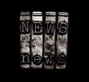 News typewriter keys. On black Royalty Free Stock Images
