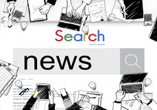 News Update Information Report Search Concept. News Update Information Report Search Stock Photography