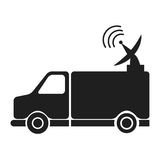 News van with antenna information communication Royalty Free Stock Images