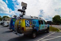 News Vans at Pence Rally Stock Photo